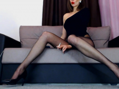 Gorgeous lady in sexy tights Smoking fetish POV