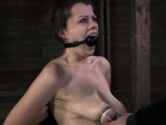 Restrained sub punished with breast pump