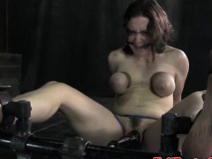 Breast bondage sub getting pussy toyed