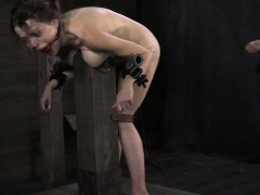 Ballgagged tied up bdsm sub whipped