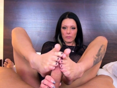 German tattoo hooker give footjob and ride POV