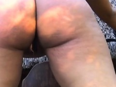 Sexy african slave with curvy booty gets toyed with