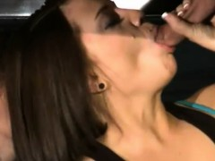 Three brunette women blowjob under the massage table